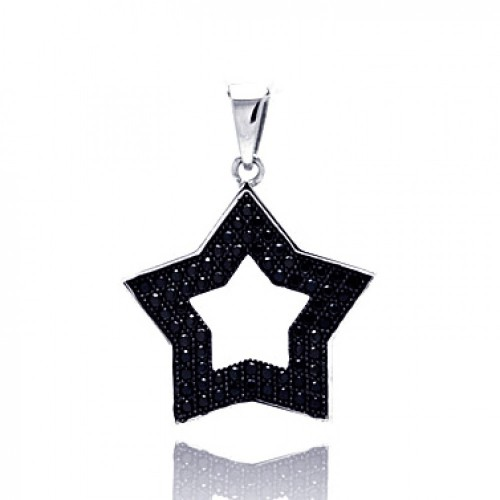 -CLOSEOUT- Wholesale Sterling Silver 925 Black Rhodium Plated Open Star Micro Pave CZ Pendant - ACP00027BLK