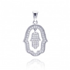Sterling Silver Rhodium Plated Open Hand Curvy Cricle CZ Dangling Pendant acp00028