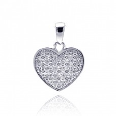 Sterling Silver Rhodium Plated Heart CZ Dangling Pendant acp00029