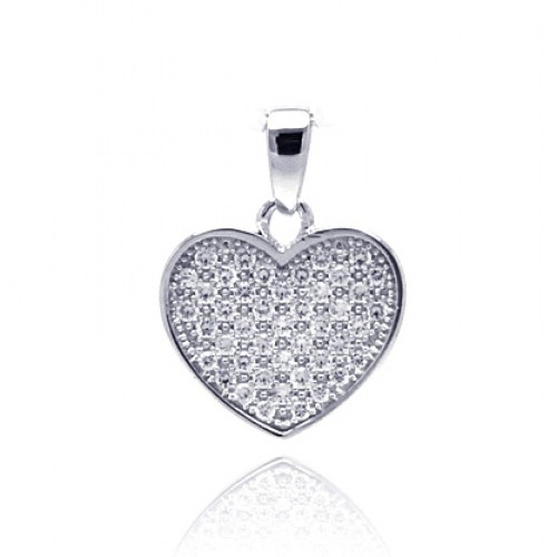 Wholesale Sterling Silver 925 Rhodium Plated Heart CZ Dangling Pendant - ACP00029