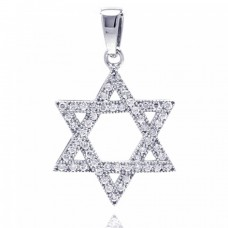 Sterling Silver Rhodium Plated Hebrew Star CZ Dangling Pendant acp00033