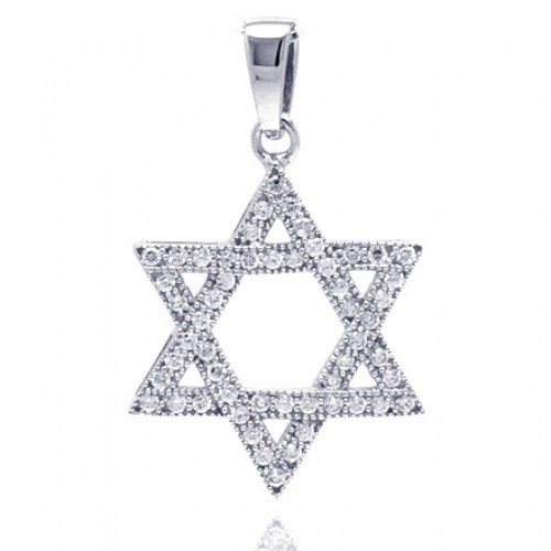 Wholesale Sterling Silver 925 Rhodium Plated Hebrew Star CZ Dangling Pendant - ACP00033