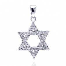 Sterling Silver Rhodium Plated Open Hebrew Star Micro Pave CZ Dangling Pendant acp00035