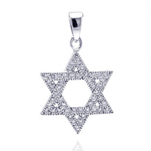 Wholesale Sterling Silver 925 Rhodium Plated Open Hebrew Star Micro Pave CZ Dangling Pendant - ACP00035