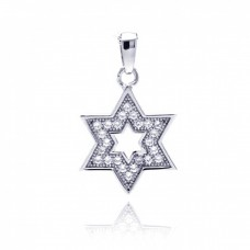 Sterling Silver Rhodium Plated Star Of David Open CZ Dangling Pendant acp00038