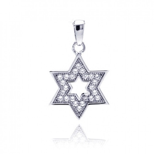 Wholesale Sterling Silver 925 Rhodium Plated Star Of David Open CZ Dangling Pendant - ACP00038