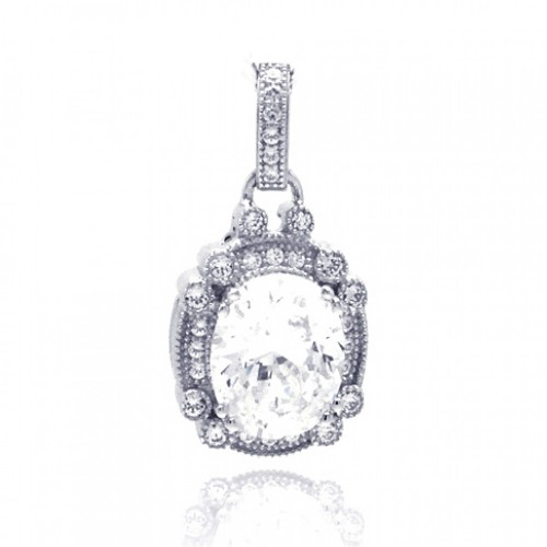 Wholesale Sterling Silver 925 Rhodium Plated Round Micro Pave CZ Dangling Pendant - ACP00039