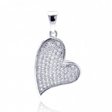 Sterling Silver Rhodium Plated Heart CZ Dangling Pendant acp00040