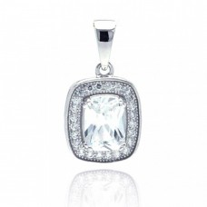 Sterling Silver Rhodium Plated Rectangular CZ Dangling Pendant - ACP00041