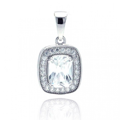 Wholesale Sterling Silver 925 Rhodium Plated Rectangular CZ Dangling Pendant - ACP00041