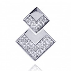 Sterling Silver Rhodium Plated Two Graduated Square CZ Inlay Pendant acp00042