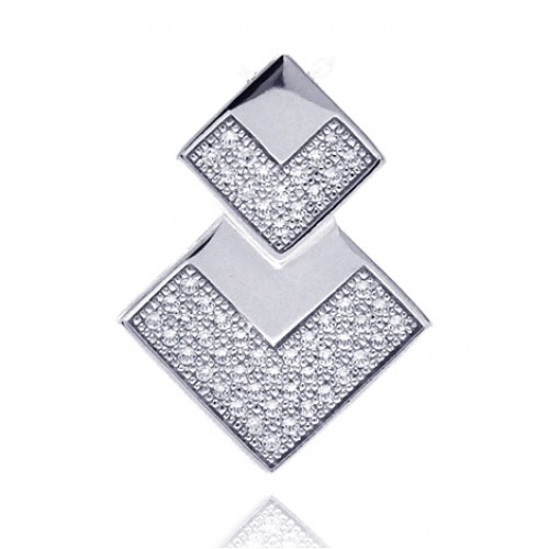 Wholesale Sterling Silver 925 Rhodium Plated Two Graduated Square CZ Inlay Pendant - ACP00042