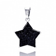 ***CLOSEOUT***Sterling Silver Black Rhodium Plated Star CZ Dangling Pendant acp00043blk