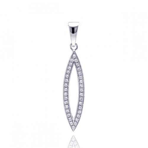 Wholesale Sterling Silver 925 Rhodium Plated Open Marquis CZ Dangling Pendant - ACP00044