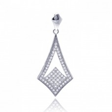 Sterling Silver Rhodium Plated Micro Pave Sharp Teardrop CZ Dangling Pendant acp00045