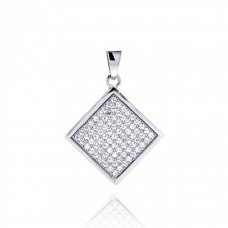 Wholesale Sterling Silver 925 Rhodium Plated Square Micro Pave CZ Dangling Pendant - ACP00046