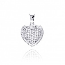 Sterling Silver Rhodium Plated Heart Micro Pave CZ Dangling Pendant acp00047