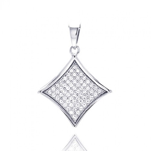 Wholesale Sterling Silver 925 Rhodium Plated Square Micro Pave CZ Dangling Pendant - ACP00048