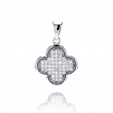 Sterling Silver Rhodium Plated Clover Micro Pave CZ Dangling Pendant acp00049
