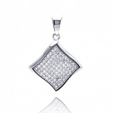 Wholesale Sterling Silver 925 Rhodium Plated Curvy Square CZ Dangling Pendant - ACP00050