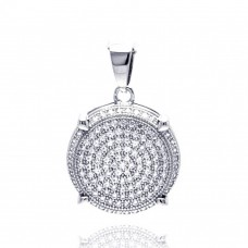 Sterling Silver Rhodium Plated Circle CZ Danglin Pendant acp00051