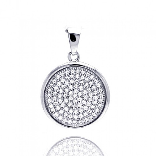 Wholesale Sterling Silver 925 Rhodium Plated Circle Micro Pave CZ Dangling Pendant - ACP00052