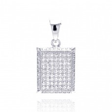 Wholesale Sterling Silver 925 Rhodium Plated Square Micro Pave CZ Dangling Pendant - ACP00053