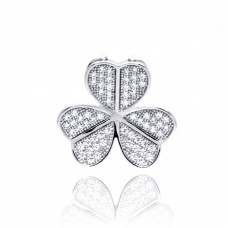 Sterling Silver Rhodium Plated Clover Micro pave CZ Pendant acp00055