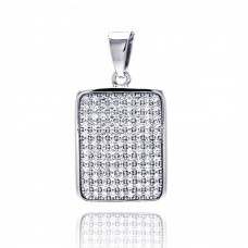 Sterling Silver Rhodium Plated Rectangle Micro Pave CZ Dangling Pendant - ACP00056