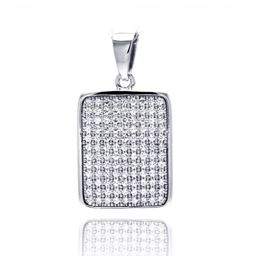 Wholesale Sterling Silver 925 Rhodium Plated Rectangle Micro Pave CZ Dangling Pendant - ACP00056