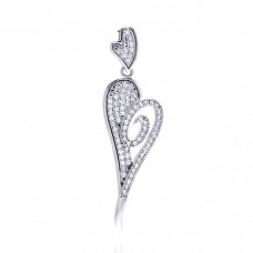 Sterling Silver Rhodium Plated Elongated Heart Micro Pave CZ Dangling Pendant - ACP00057