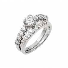 Wholesale Sterling Silver 925 Rhodium Plated Clear CZ Bridal Ring Set - AAR0063