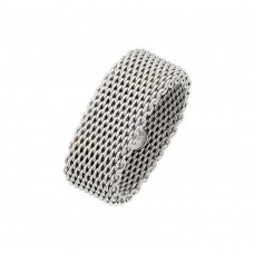 Wholesale Sterling Silver 925 Rhodium Plated Chainmail Ring - AAR0086