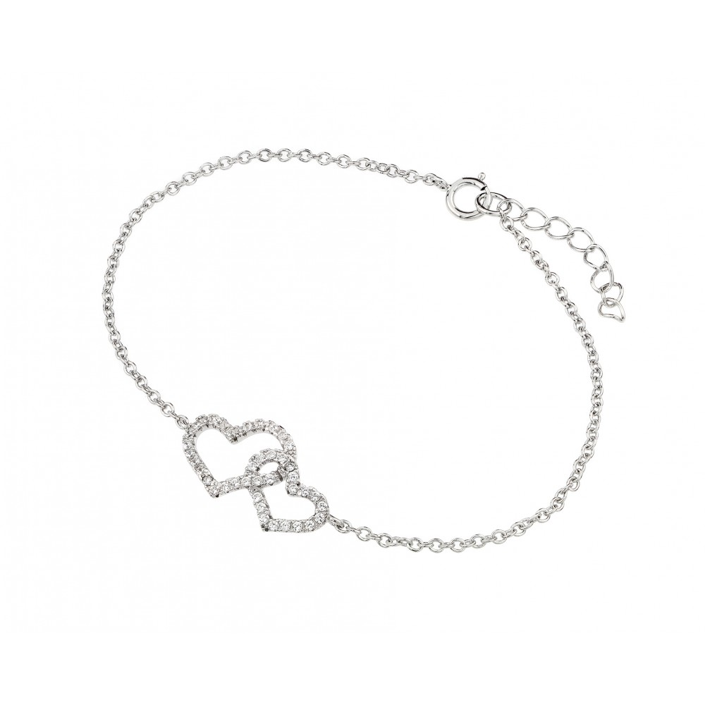 Wholesale Sterling Silver 925 Rhodium Plated Clear CZ Open Hearts Bracelet - BGB00231