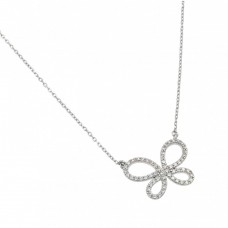 Wholesale Sterling Silver 925 Rhodium Plated Clear CZ Open Butterfly Pendant Necklace - BGP01000