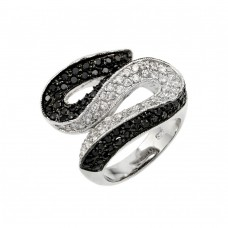**Closeout** Wholesale Sterling Silver 925 Rhodium and Black Rhodium Plated Clear and Black Pave Set CZ S Curve Ring - BGR00143