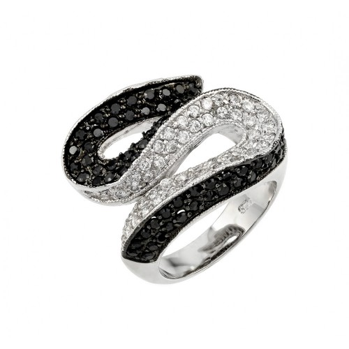 -Closeout- Wholesale Sterling Silver 925 Rhodium and Black Rhodium Plated Clear and Black Pave Set CZ S Curve Ring - BGR00143