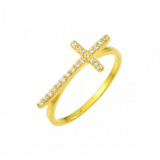 Sterling Silver Gold Plated Clear CZ Cross Ring - BGR00810GP