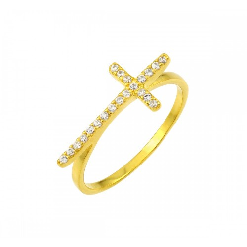 Wholesale Sterling Silver 925 Gold Plated Clear CZ Cross Ring - BGR00810GP