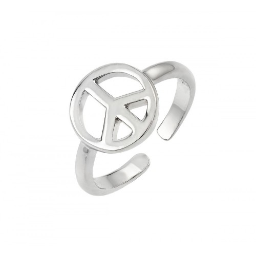 Wholesale Sterling Silver 925 Rhodium Plated Peace Toe Ring - BGR00840