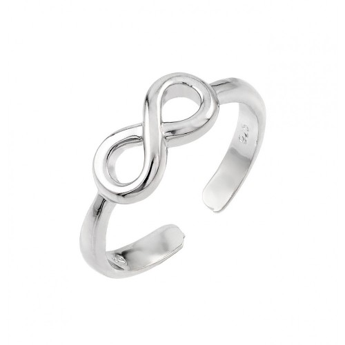 Wholesale Sterling Silver 925 Rhodium Plated Infinity Toe Ring - BGR00841