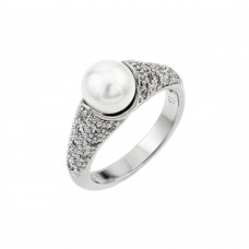 Sterling Silver Rhodium Plated Synthetic Pearl Ring - BGR00845