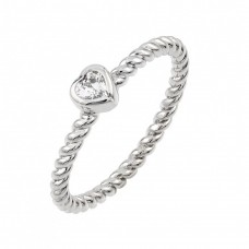 Wholesale Sterling Silver 925 Rhodium Plated Rope CZ Ring - BGR00858