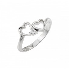 Wholesale Sterling Silver 925 Rhodium Plated Clear CZ Open Heart Ring - BGR00877