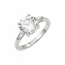 Wholesale Sterling Silver 925 Rhodium Plated Clear CZ Solitaire Ring - BGR00901