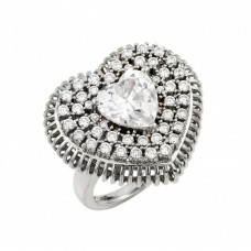 Wholesale Sterling Silver 925 Rhodium Plated Heart Micro Pave Cluster Ring - GMR00015