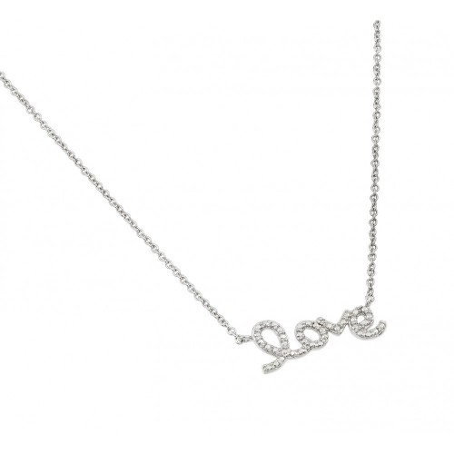 Wholesale Sterling Silver 925 Rhodium Plated Clear Diamond Love Pendant Necklace - STP01471