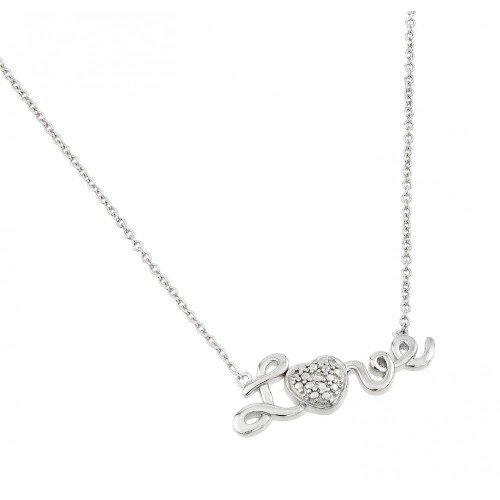 Wholesale Sterling Silver 925 Rhodium Plated Textured Heart and Love Pendant Necklace - STP01472