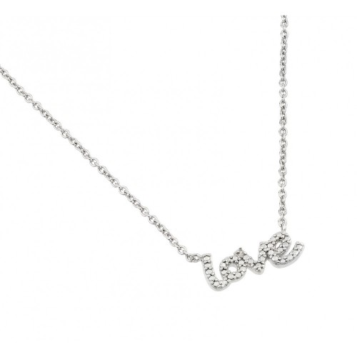Wholesale Sterling Silver 925 Rhodium Plated Textured Love Pendant Necklace - STP01473