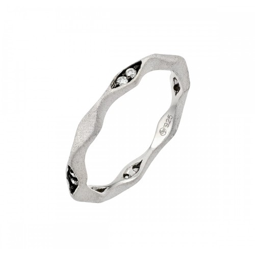 -Closeout- Wholesale Sterling Silver 925 Rhodium and Black Rhodium Plated Clear CZ Eternity Ring - STR00878